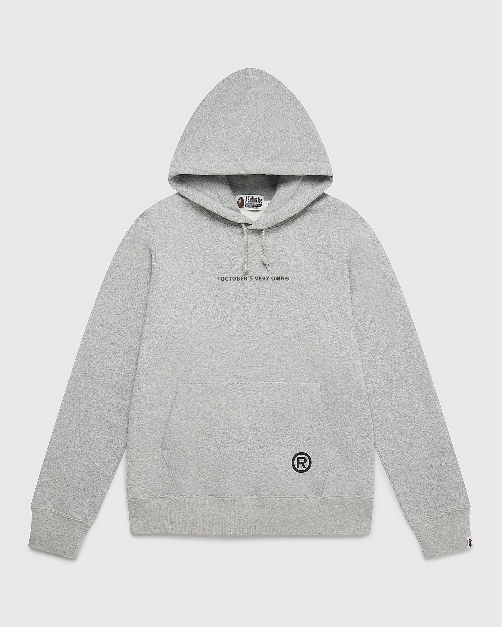 OVO X BAPE PULLOVER HOODIE - HEATHER GREY IMAGE #1