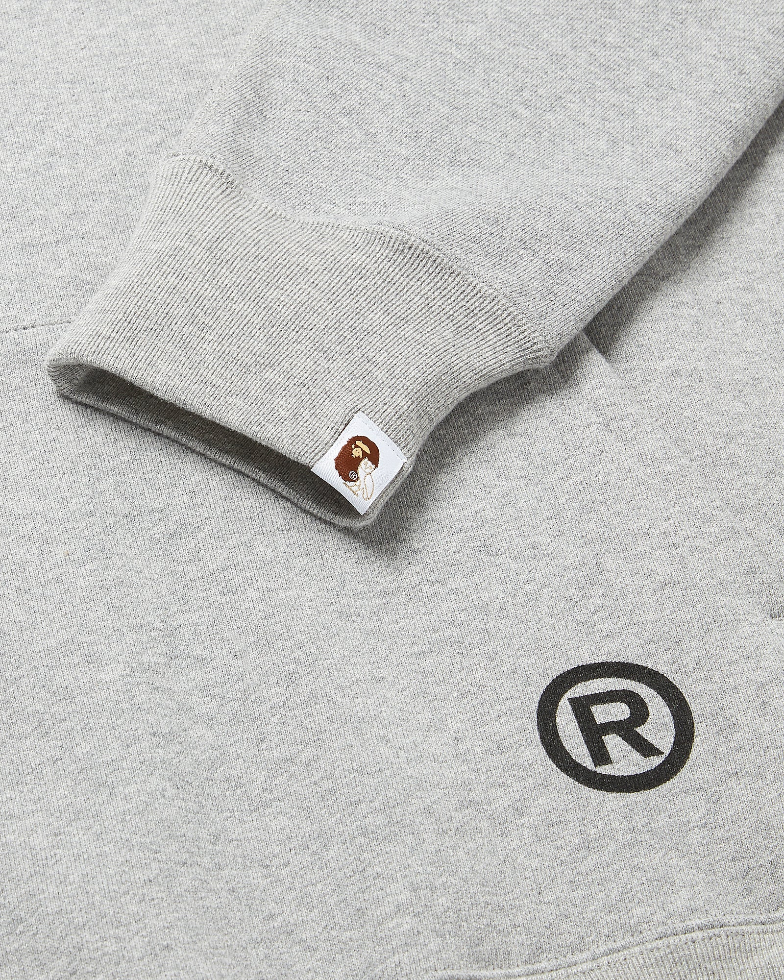 OVO X BAPE PULLOVER HOODIE - HEATHER GREY IMAGE #4