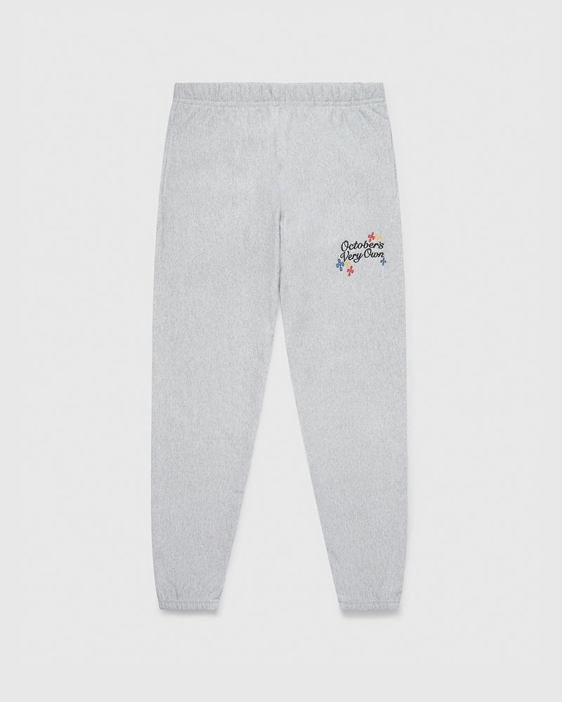 POM POM SCRIPT SWEATPANT - HEATHER GREY
