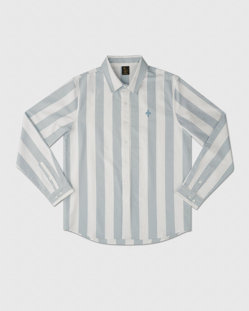 STRIPED OXFORD SHIRT - DUSTY BLUE