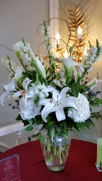 Display - Lilies,Hydrangeas and Calla Lilies