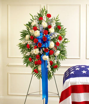 Red White and Blue Funeral Display