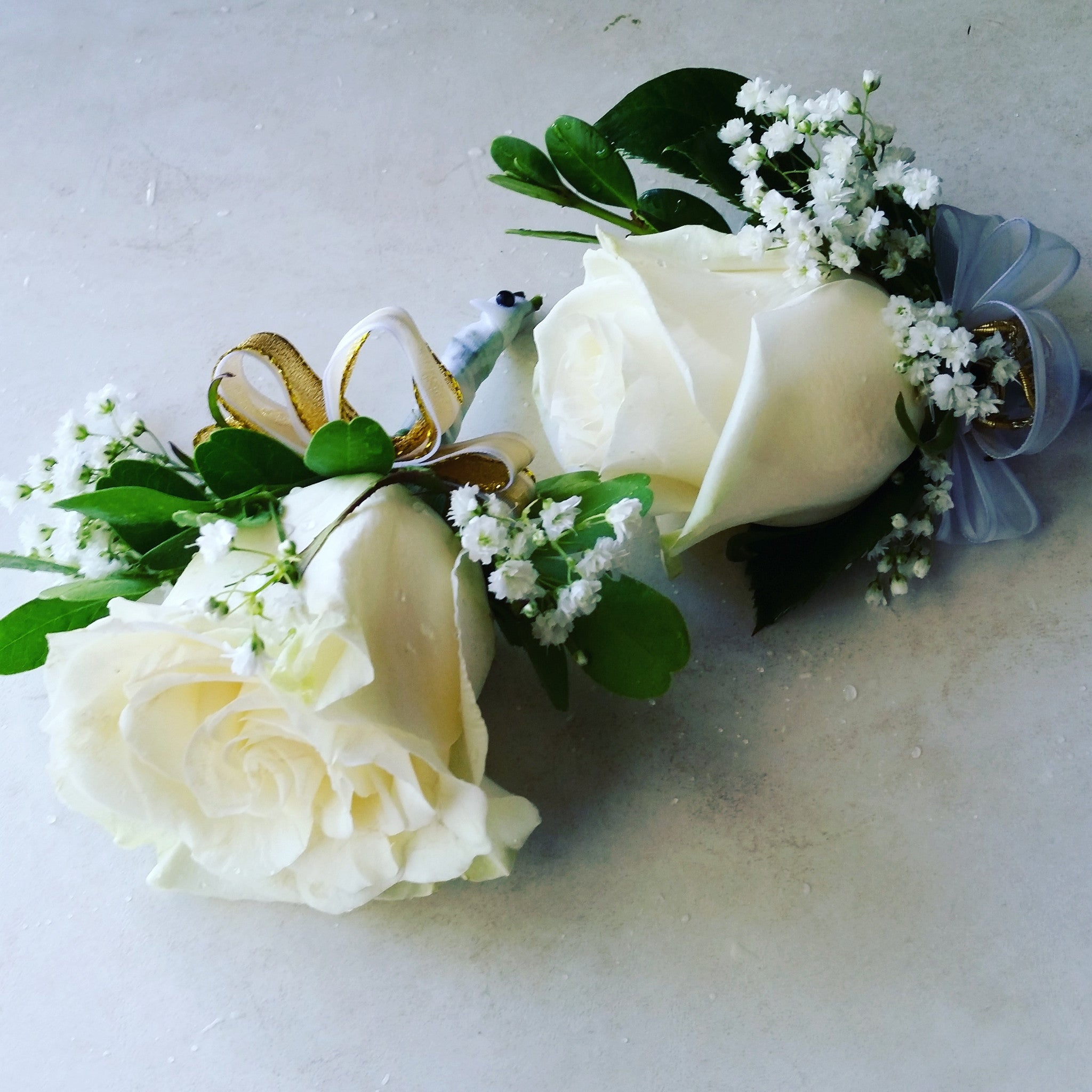 white roses boutonniere - Garden Rose Boutonniere