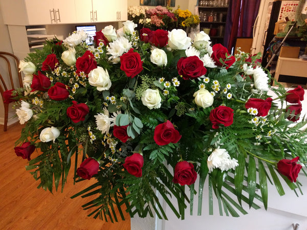 Red and White Roses Casket