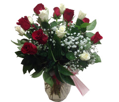 Romantic V Day — White and Red Roses