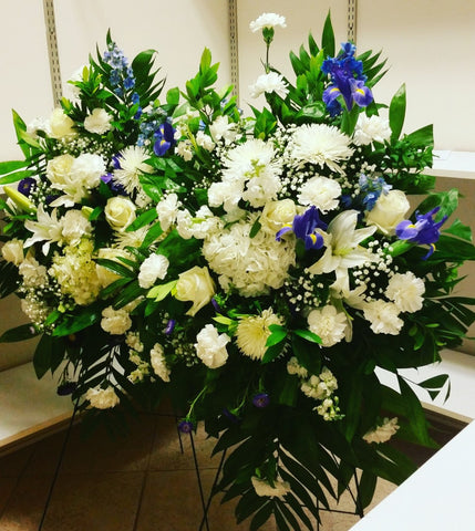 Blue and White Sympathy Flowers