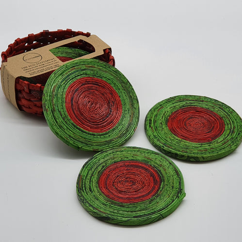 Recycled Newspaper Coasters with holder