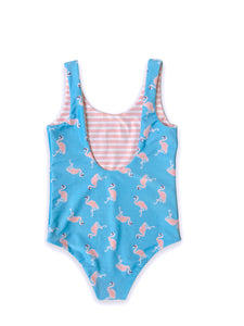 August Society Gili Girls Swimsuit - Flamingo / Pinkstripe