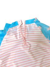 Load image into Gallery viewer, August Society Waikiki Kids Rash Guard - Pinkstripe Flamingo