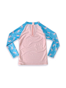August Society Waikiki Kids Rash Guard - Pinkstripe Flamingo