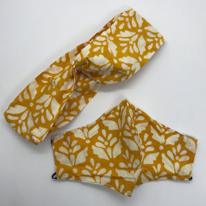 Handstamped Batik Mask & Headband Set