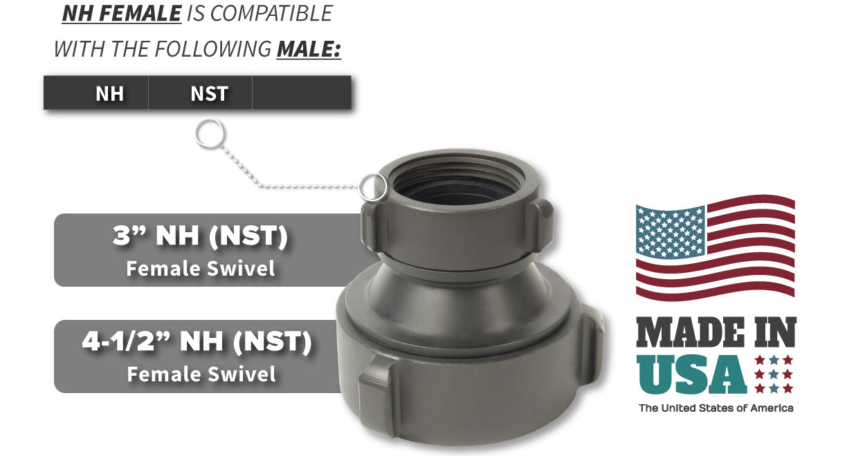 3 Inch NH-NST Female x 4.5 Inch NH-NST Female Compatibility Thread Chart