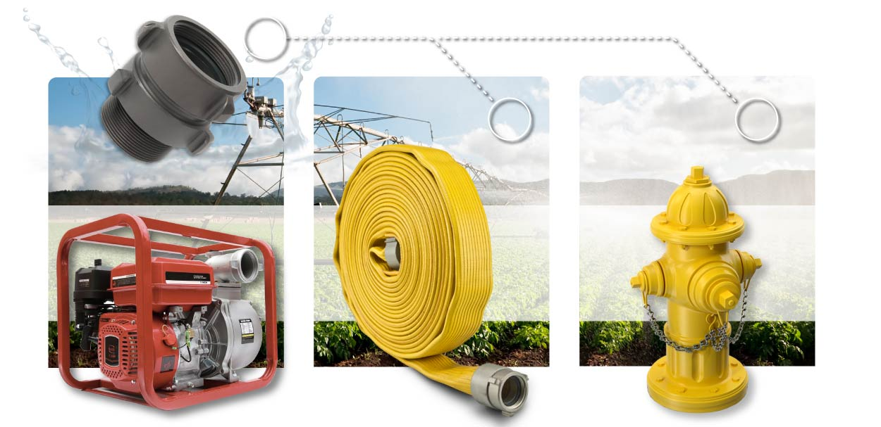 4.5 Inch NH-NST Female Swivel RL x 4 Inch NH-NST Male Fire Hose Pump Hydrant Infographic