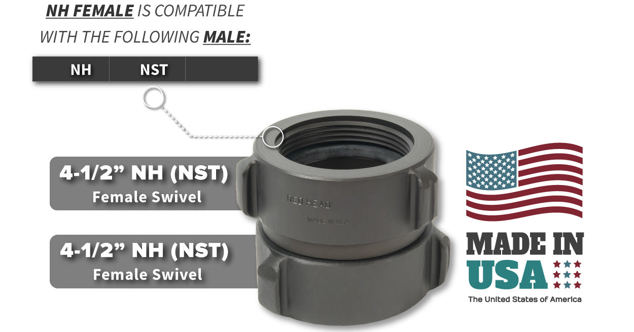 4.5 Inch NH-NST Female x 4.5 Inch NH-NST Female Compatibility Thread Chart