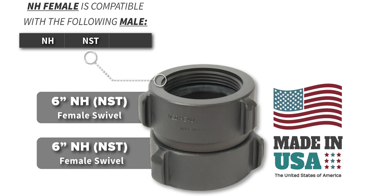6 Inch NH-NST Female x 6 Inch NH-NST Female Compatibility Thread Chart