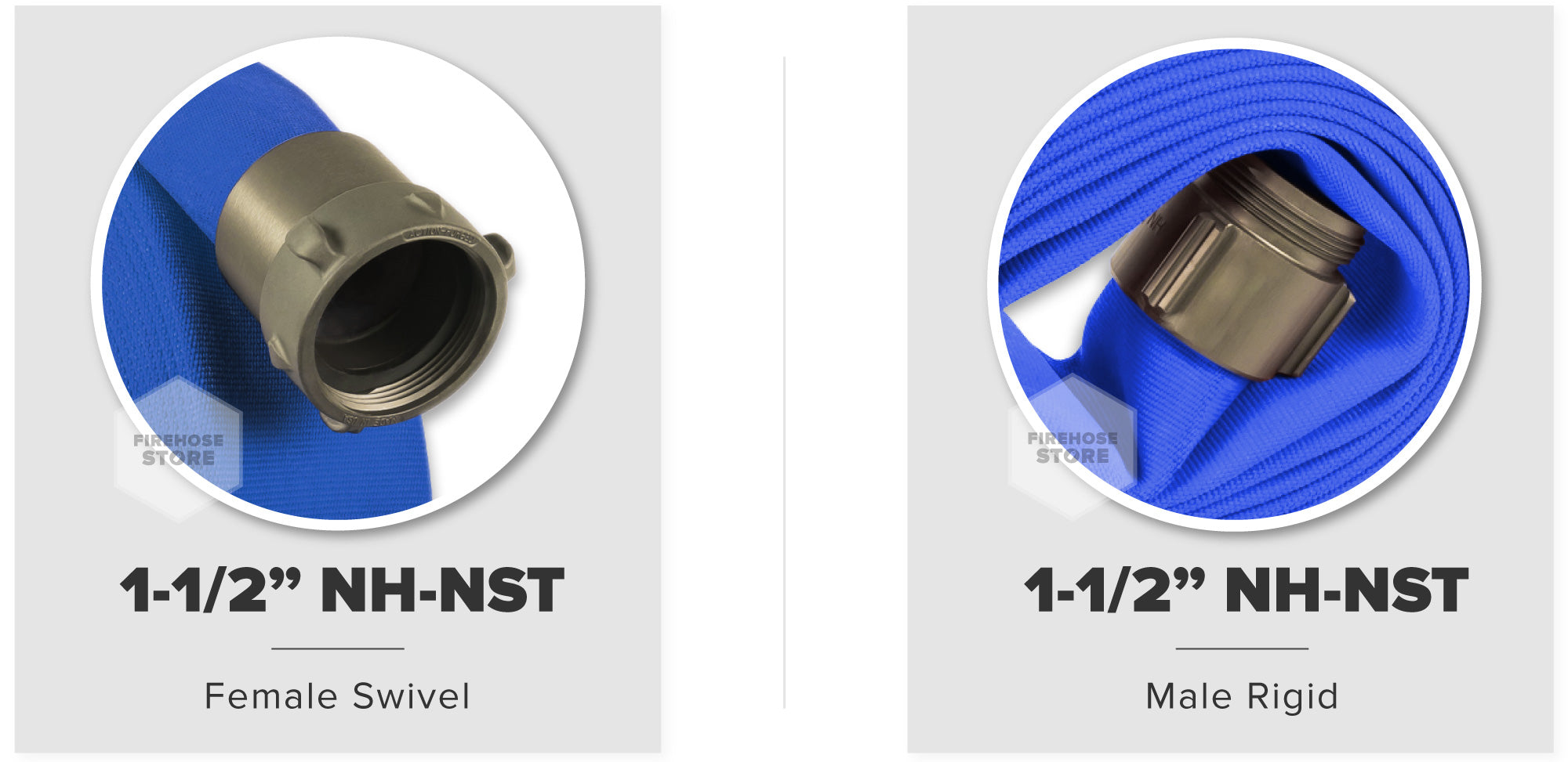 Blue 1.5 Inch Double Jacket Hose Aluminum NH-NST Connectors Male & Female Compatibility Chart