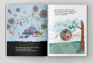 Tooth Brigade Storybook Sneak Peek Page - the tooth fairy gets stuck in a tumbleweed
