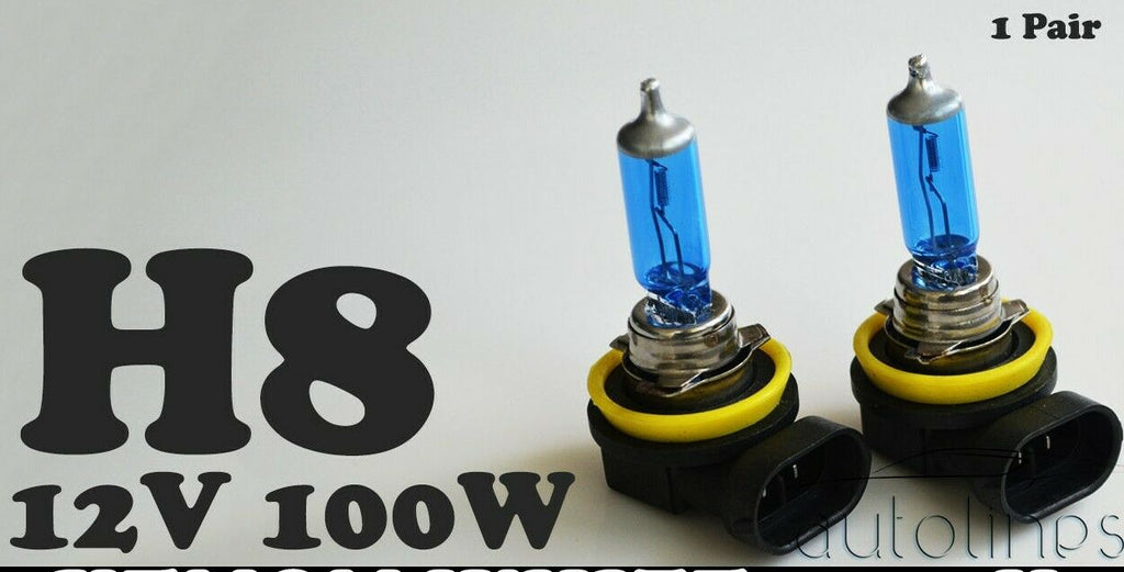 H8 12V 100W Xenon White 6000k Halogen Car Head Light Lamp Globes Bulbs HID LED