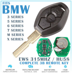 Fits BMW 3B Complete REMOTE TRANSPONDER KEY 315MHz Suits 3 5 7 SERIES X3 Z3 Z4