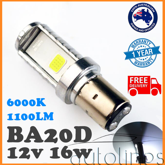 BA20D LED 16W Motorbike White 6000k High/Low Beam Headlight Globes Bulbs LED HID