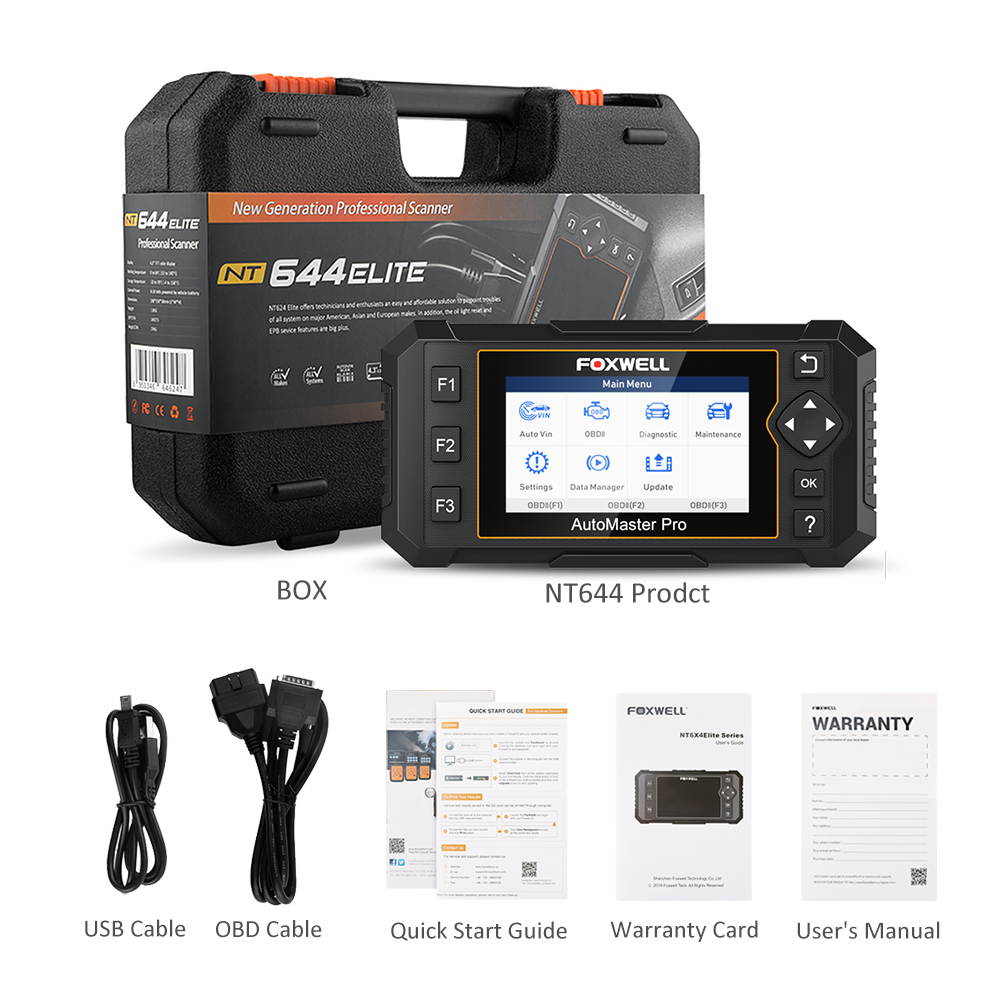 FOXWELL NT644 Elite Auto OBD2 Diagnostic Scanner Tool ABS SRS DPF Car Full System Scanner