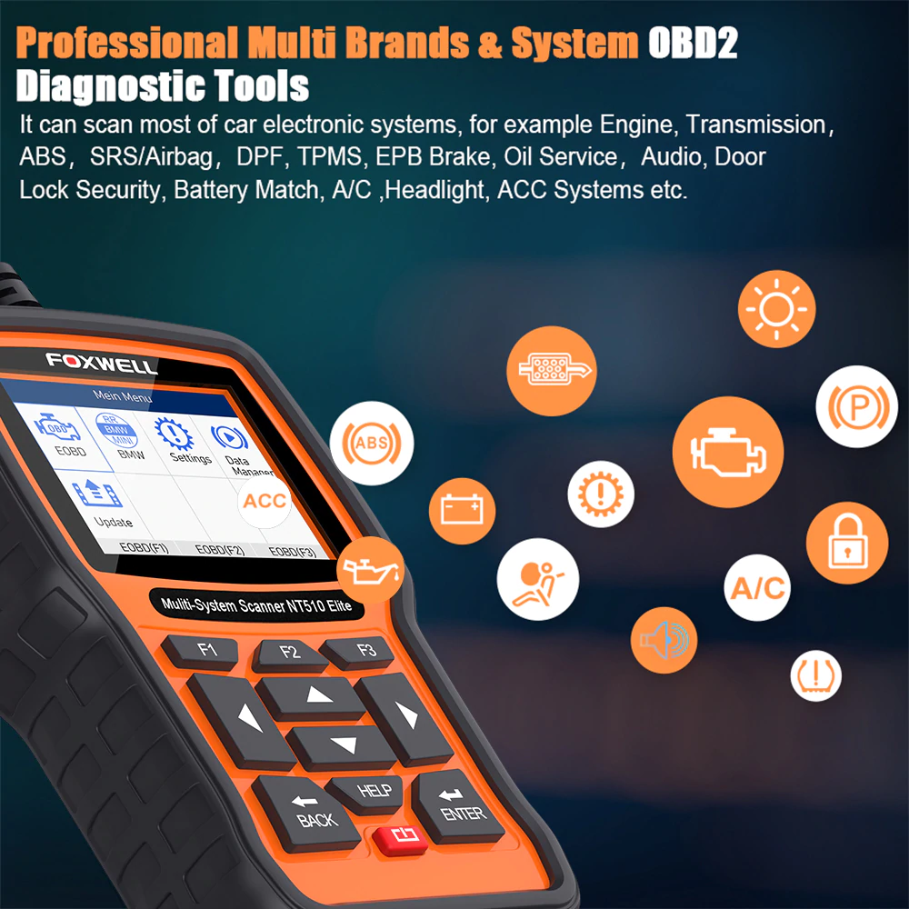 FOXWELL NT510 Full System OBD2 Auto Fault Code Reader Reset Diagnostic Scan Tool Suitable For TOYOTA