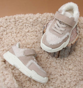 Beige Fleece Trainers Shoes