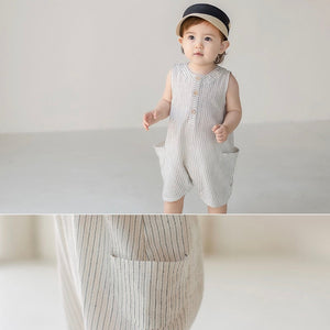 Stripped romper overall with hat