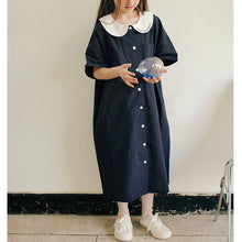 Load image into Gallery viewer, Navy blue collar dress