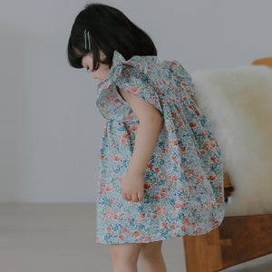 Blue floral frills dress