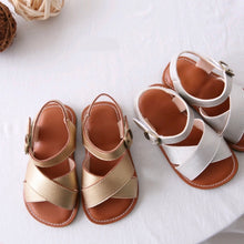 Load image into Gallery viewer, Gold X strap sandals