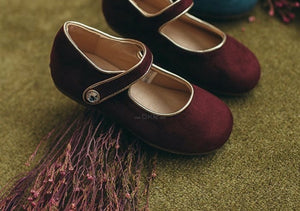 Red Velvet Flat Shoes