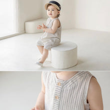 Load image into Gallery viewer, Stripped romper overall with hat