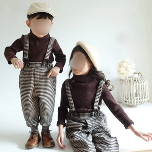 Brown top +suspender pants