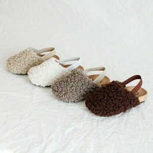 White fleece slippers