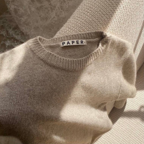 Beige knit pullover