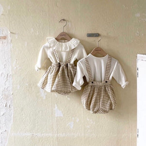 Frill bodysuit with check skirt