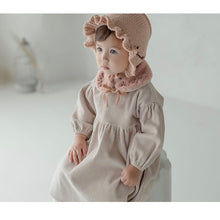"Load image into Gallery viewer, Cream dress with ""scarf"" and hairband"