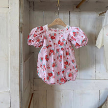 Load image into Gallery viewer, Red flower babysuit