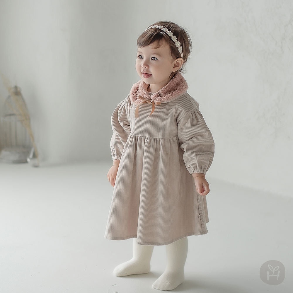 "Cream dress with ""scarf"" and hairband"