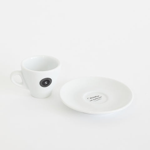 Spyhouse Logo / 'Waiting on a Friend' Espresso Cup & Saucer
