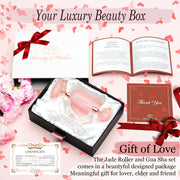 Rose Quartz Jade Roller and Gua Sha Luxury Set with Countertop Stand