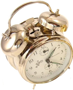 Double Bell Mechanical Wind Alarm Clock - Silver