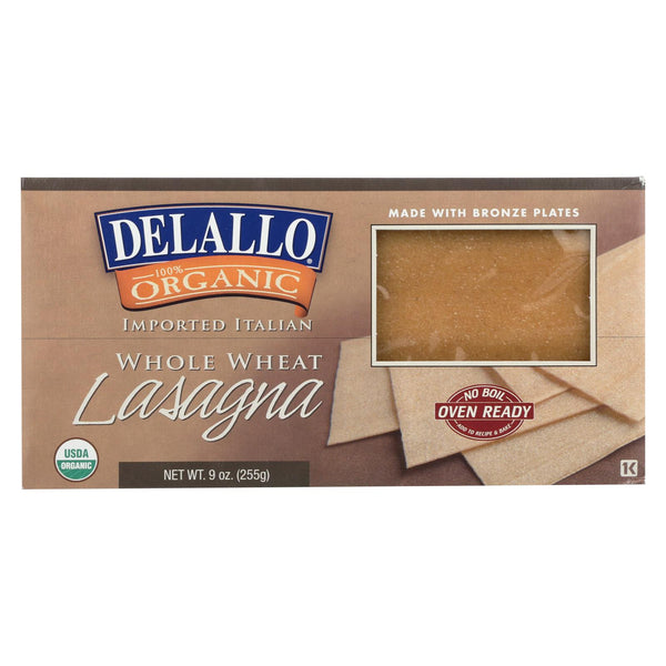 Delallo - Organic Whole Wheat Lasagna Pasta - Case Of 12 - 9 Oz.