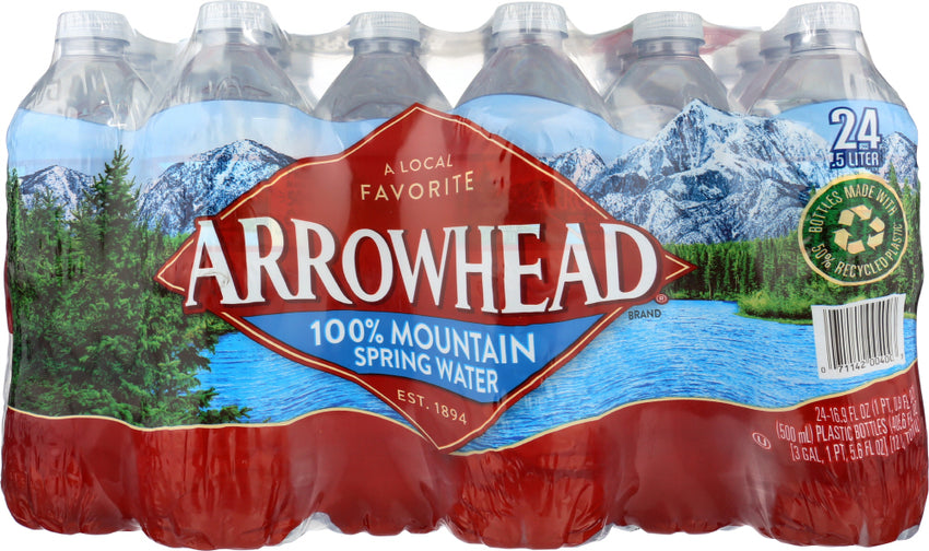 Arrowhead Water: 100% Mountain Spring Water 24 Count - 0.5 Liter, 12 Lt