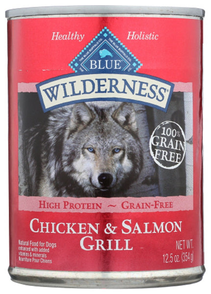 Blue Buffalo: Wilderness Adult Dog Food Salmon And Chicken Grill, 12.50 Oz