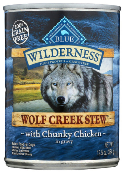 Blue Buffalo: Wilderness Wolf Creek Stew Adult Dog Food Chunky Chicken Stew, 12.50 Oz