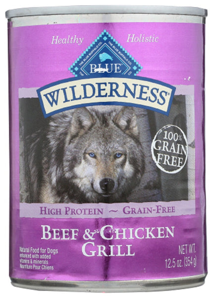 Blue Buffalo: Wilderness Adult Dog Food Beef And Chicken Grill, 12.50 Oz