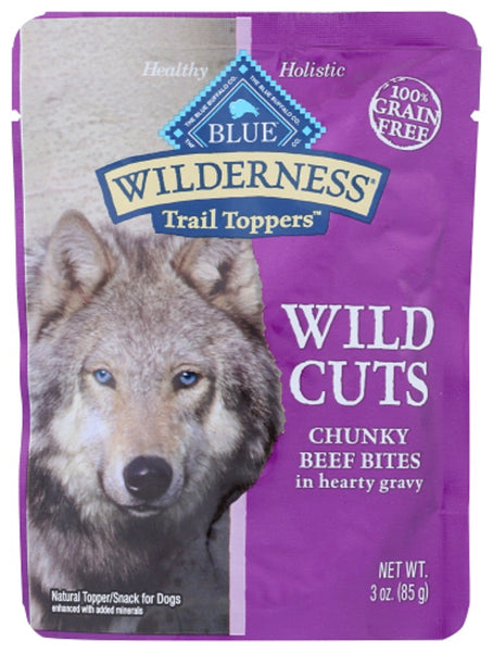 Blue Buffalo: Wilderness Wild Cuts Trail Toppers Adult Dog Food Chunky Beef Bites In Hearty Gravy, 3 Oz