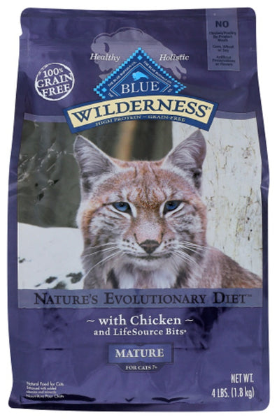 Blue Buffalo: Wilderness Mature Cat Food Chicken Recipe, 4 Lb